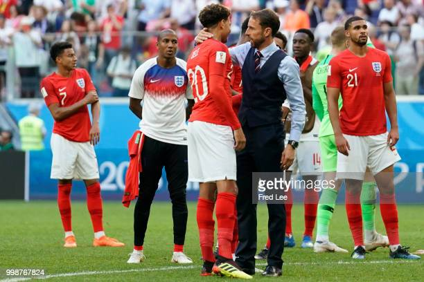 England players are seen as Belgium are presented with their medals during the 2018 FIFA World Cup Russia 3rd Place Playoff match between Belgium and...