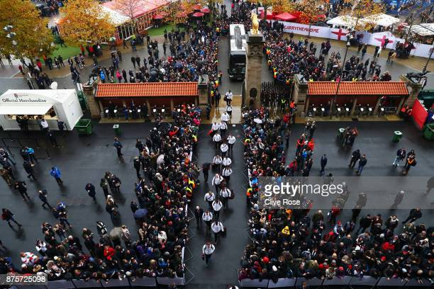 England players arrive at the stadium prior to the Old Mutual Wealth Series match between England and Australia at Twickenham Stadium on November 18...