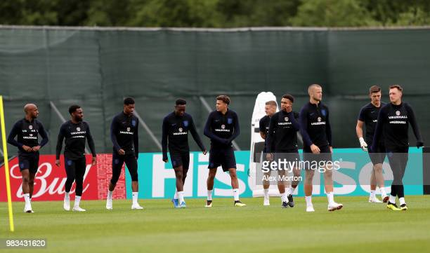 England players arrive on the pitch during an England training session on June 25 2018 in Saint Petersburg Russia