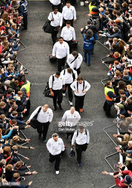 England players arrive prior to the RBS Six Nations match between England and Italy at Twickenham Stadium on February 26 2017 in London England