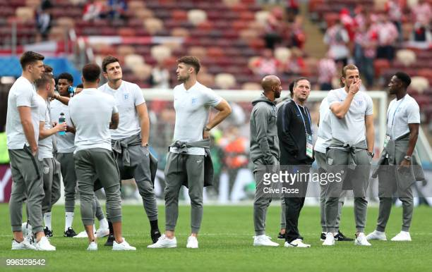 England players attend pitch inspection prior to the 2018 FIFA World Cup Russia Semi Final match between England and Croatia at Luzhniki Stadium on...
