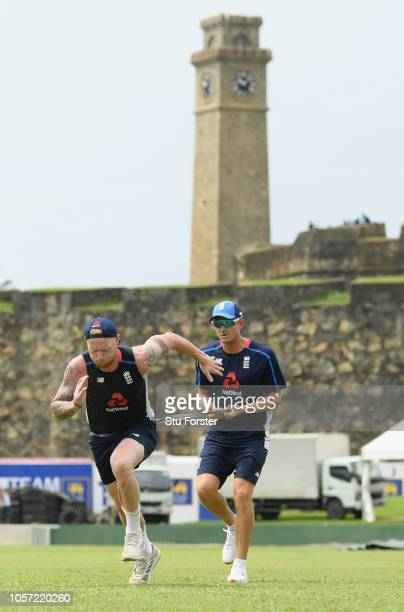England players Ben Stokes and Joe Denley in action during England Nets ahead of the First Test Match at Galle International Stadium on November 4...