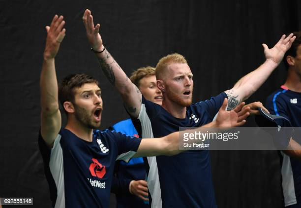 England players Ben Stokes and Mark Wood react during a game of Football during nets at the Swalec Stadium ahead of the ICC Champions Trophy match...
