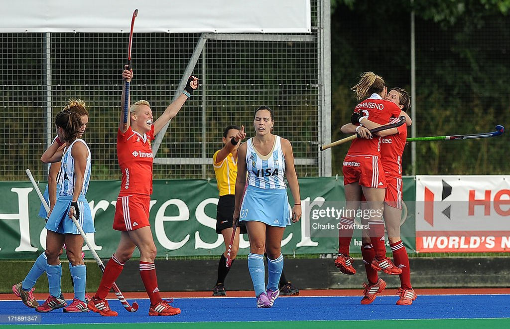 England players celebrate a goal during the Investec Hockey World League - Semi Finals match between Argentina and England at The University of Westminster Sports Ground on June 29, 2013 in London, England.