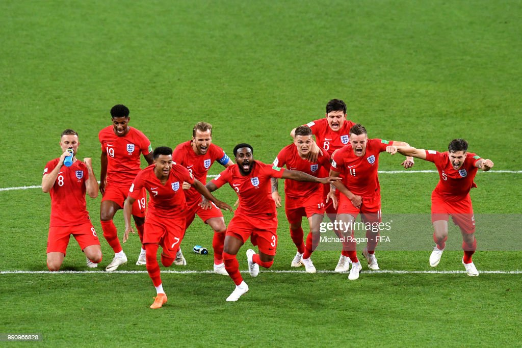 England players (l-r Jordan Henderson, Marcus Rashford, Jesse Lingard, Harry Kane, Danny Rose, Kieran Trippier, Harry Maguire, Jamie Vardy, John Stones) celebrate after Eric Dier of England scores the winning penalty during the 2018 FIFA World Cup Russia Round of 16 match between Colombia and England at Spartak Stadium on July 3, 2018 in Moscow, Russia.