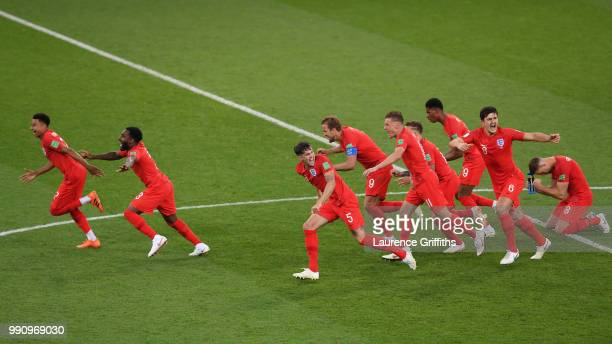 England players celebrate after Eric Dier of England scores the winning penalty during the 2018 FIFA World Cup Russia Round of 16 match between...
