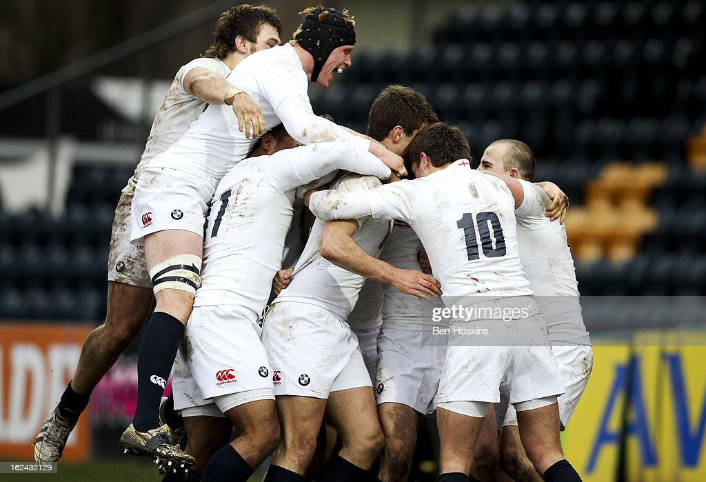 England players celebrate after Henry Purdy of England scores a try during the U20s RBS Six Nations match between England U20 and France U20 at the Sixways Stadium on February 23, 2013 in Worcester, England.