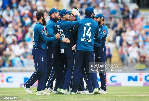 England players celebrate after Shikhar Dhawan was run out during the third Royal London One Day international at Emerald Headingley Leeds