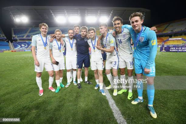 England players celebrate after the FIFA U20 World Cup Korea Republic 2017 Final match between Venezuela and England at Suwon World Cup Stadium on...
