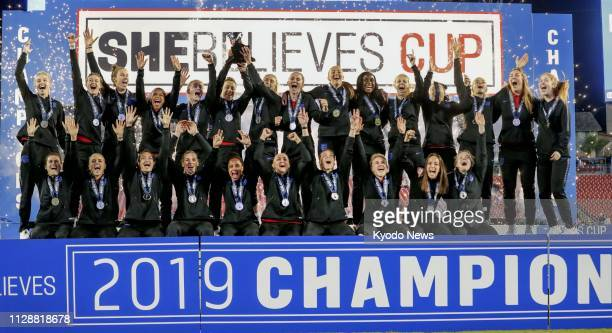 England players celebrate after winning the SheBelieves Cup in Tampa Florida on March 5 2019 ==Kyodo