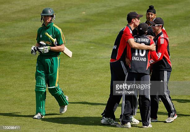 England players celebrate dismissing Keaton Jennings of South Africa during the one day international match between England under 19 and South Africa...