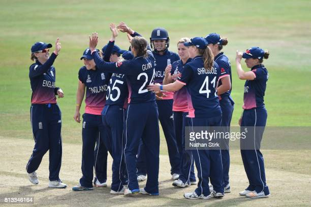 England players celebrate during the ICC Women's World Cup 2017 between England and New Zealand at The 3aaa County Ground on July 12 2017 in Derby...