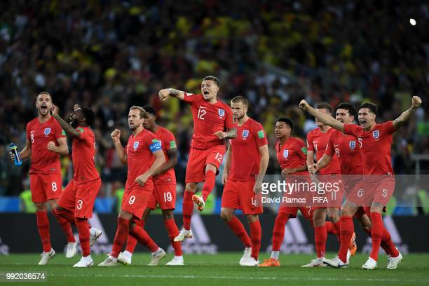 England players celebrate during the penalty shout out during the 2018 FIFA World Cup Russia Round of 16 match between Colombia and England at...