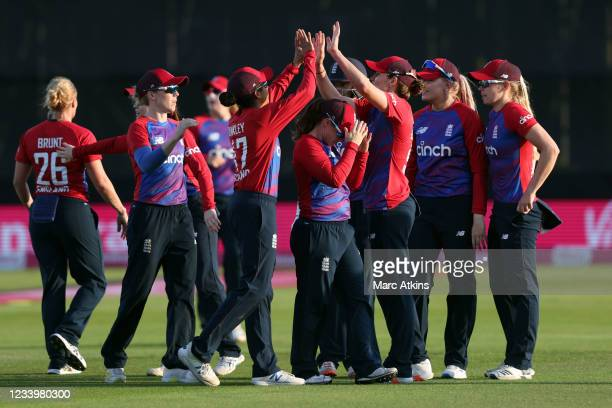 England players celebrate during the Women's Third T20 International between England and India at Cloudfm County Ground on July 14, 2021 in...
