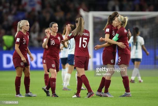 England players celebrate following their sides victory in the 2019 FIFA Women's World Cup France group D match between England and Argentina at on...