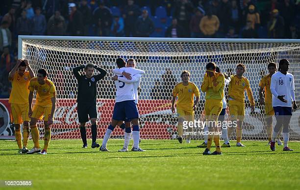 England players celebrate making it to the UEFA U21 Championship Finals during the UEFA Euro 2011 U21 Championship play-off, second leg match between...