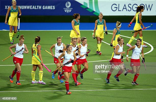 England players celebrate the field goal scored by Lily Owsley in the Women's Gold Medal Match against Australia at Glasgow National Hockey Centre...