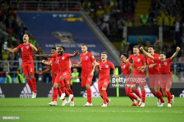 England players celebrate the penalty save by Jordan Pickford from Carlos Bacca of Colombia during the 2018 FIFA World Cup Russia Round of 16 match...
