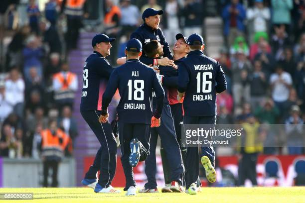England players celebrate the teams win during the Royal London ODI match between England and South Africa at The Ageas Bowl on May 27 2017 in...