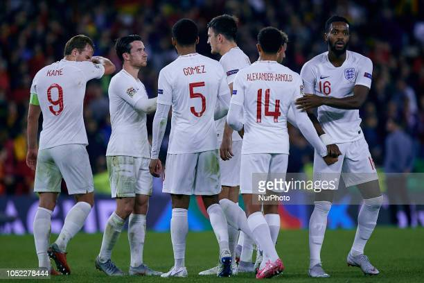 England players celebrate the victory during the UEFA Nations League A group four match between Spain and England at Benito Villamarin on October 15...