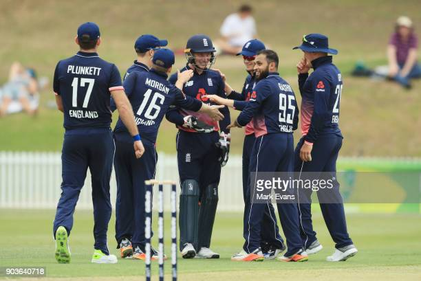 England players celebrate the wicket of Jake Doran during the One Day Tour Match between the Cricket Australia XI and England at Drummoyne Oval on...