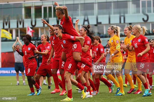 England players celebrate their 10 win over England in the FIFA Women's World Cup 2015 third place playoff match between Germany and England at...