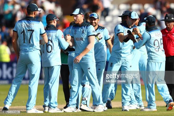 England players celebrate their 119 run win and qualification for the semi-finals during the Group Stage match of the ICC Cricket World Cup 2019...