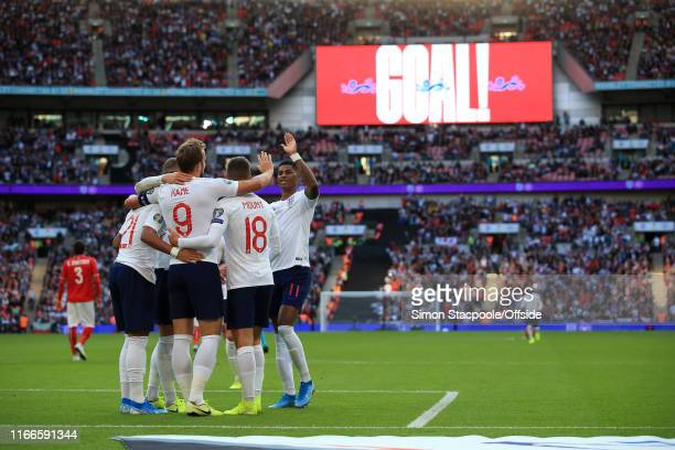 England players celebrate their 4th goal during the UEFA Euro 2020 qualifier match between England and Bulgaria at Wembley Stadium on September 7...
