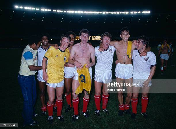 England players celebrate their historic 20 victory over Brazil at the Maracana Stadium in Rio de Janeiro 10th June 1984 Leftright unknown Mark...