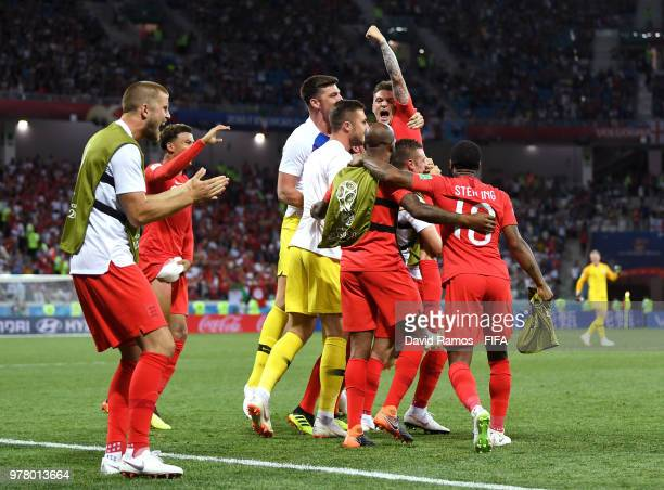 England players celebrate their sides second goal during the 2018 FIFA World Cup Russia group G match between Tunisia and England at Volgograd Arena...