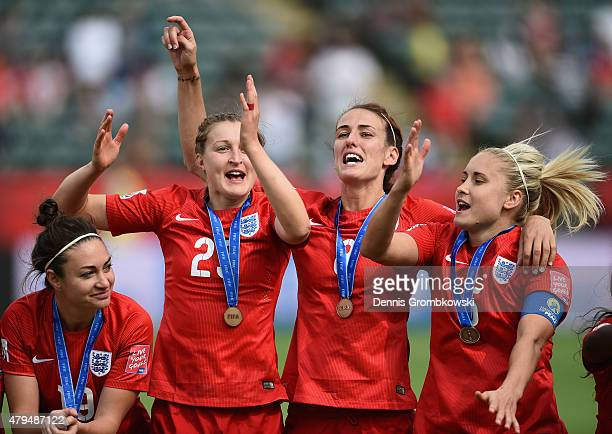 England players celebrate their third place after the FIFA Women's World Cup Canada 2015 Third Place Playoff match between Germany and England at...