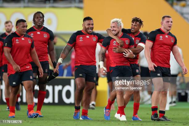 England players celebrate their victory in the Rugby World Cup 2019 Group C game between England and Argentina at Tokyo Stadium on October 05 2019 in...
