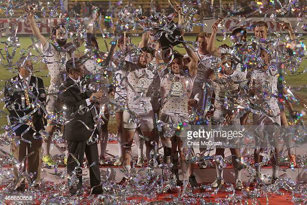 England players celebrate victory after defeating South Africa in the Cup Final on day two of the Tokyo Sevens Rugby 2015 at Chichibunomiya Rugby...