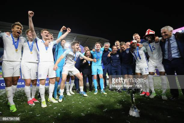 England players celebrate victory after the FIFA U20 World Cup Korea Republic 2017 Final between Venezuela and England at Suwon World Cup Stadium on...