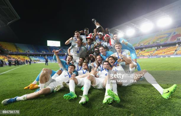 England players celebrate victory after the FIFA U-20 World Cup Korea Republic 2017 Final between Venezuela and England at Suwon World Cup Stadium on...