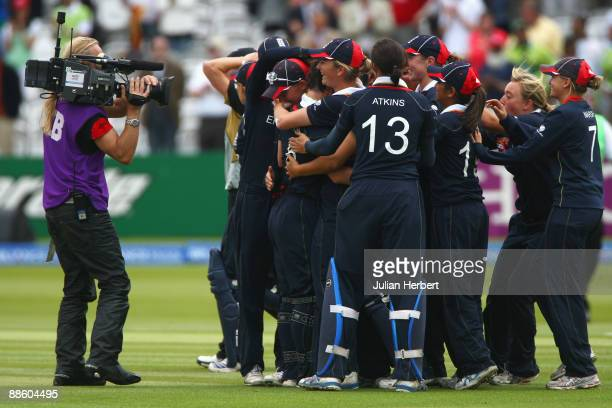 England players celebrate victory after the ICC Women's World Twenty20 Final between England and New Zealand at Lord's on June 21 2009 in London...