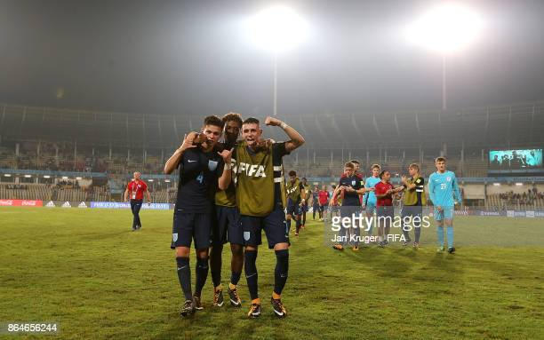 England players celebrate victory during the FIFA U17 World Cup India 2017 Quarter Final match between USA and England at Pandit Jawaharlal Nehru...