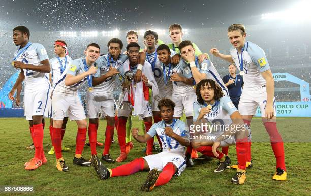 England players celebrate victory during the FIFA U17 World Cup India 2017 Final match between England and Spain at Vivekananda Yuba Bharati...