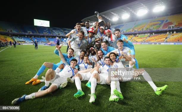 England players celebrate victory with the trophy after the FIFA U20 World Cup Korea Republic 2017 Final between Venezuela and England at Suwon World...