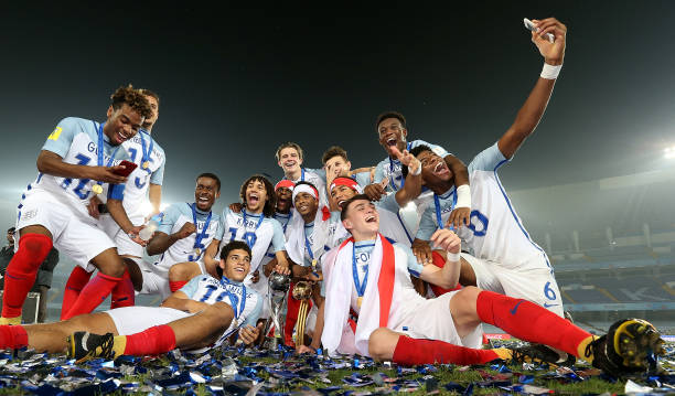 England players celebrate with the trophy during the FIFA U-17 World Cup India 2017 Final match between England and Spain at Vivekananda Yuba Bharati...