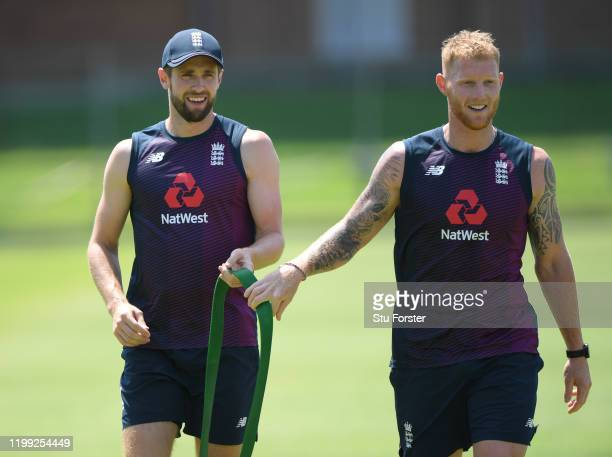 England players Chris Woakes and Ben Stokes during the warm up during England nets at St George's Park on January 13 2020 in Port Elizabeth South...