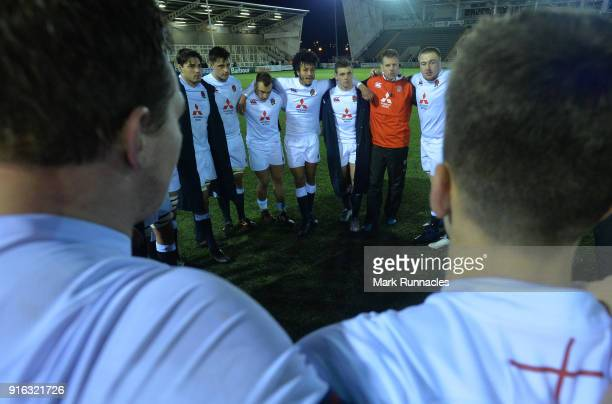 England players come together at the final whistle after beating Wales during the RBS Under 20's Six Nations match between England U20 and Wales U20...
