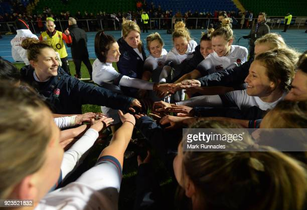 England players come together at the final whistle after their 438 victory over Scotland during the Natwest Women's Six Nations match between...