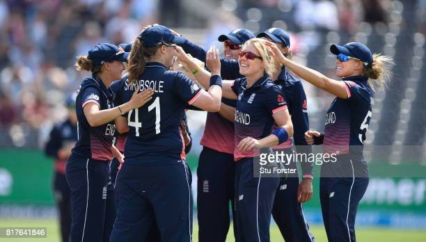 England players congratulate Anya Shrubsole after she had ran out South Africa batsman Marizanne Kapp during the ICC Women's World Cup 2017 SemiFinal...