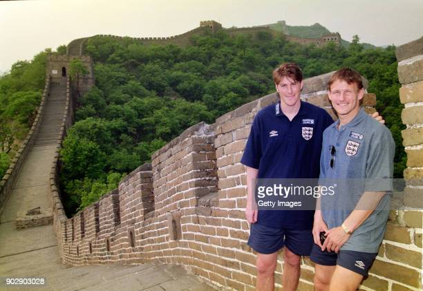 England players Darren Anderton and Teddy Sherringham pictured on the Great Wall of China during a pre Euro' 96 England Football Tour to Hong Kong...