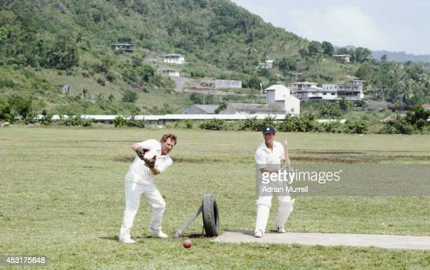 England players David Bairstow and Geoffrey Boycott during an unusual net practice on the 1981 England cricket tour to the West Indies.