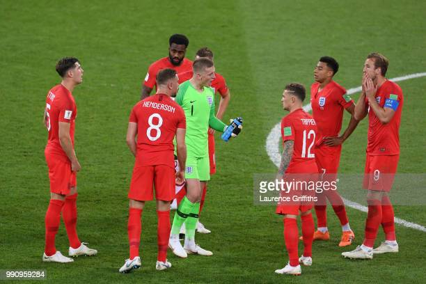 England players discuss before extra time during the 2018 FIFA World Cup Russia Round of 16 match between Colombia and England at Spartak Stadium on...
