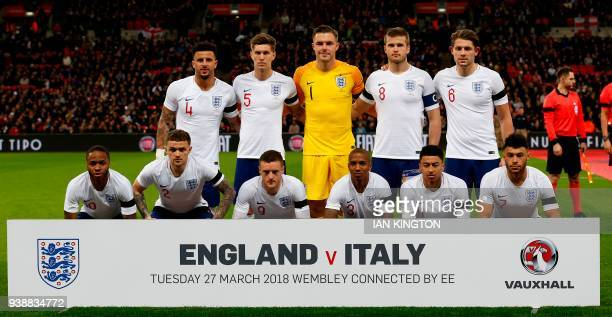 England players England's defender Kyle Walker England's defender John Stones England's goalkeeper Jack Butland England's midfielder Eric Dier and...