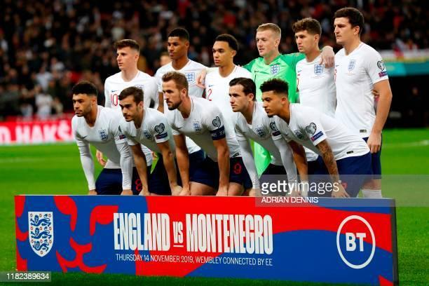 England players England's midfielder Mason Mount England's striker Marcus Rashford England's defender Trent AlexanderArnold England's goalkeeper...
