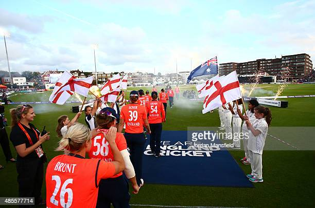 England players enter the pitch during the 2nd NatWest T20 of the Women's Ashes Series between England and Australia Women at BrightonandHoveJobs.com...